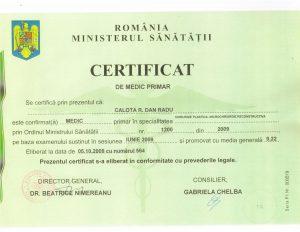 Certificat Medic Primar Dan Radu Calota Chirurgie Plastica si Reparatorie